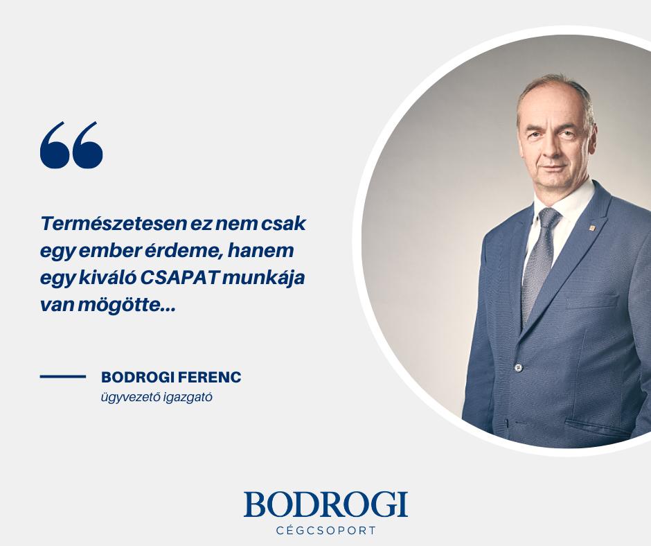 Bodrogi Ferenc veheti át az év vállalkozója díjat 2021-ben